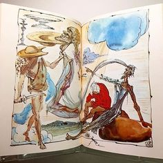 """This view of """"Don Quixote de La Mancha"""" was illustrated by Salvador Dali. The @metlibrary's copy is a reprint of the original 1946 edition. Visit library.metmuseum.org to explore the collection further. #TheMet #MetLibrary #SalvadorDali #Dali #MetRefresh #DonQuixote"""