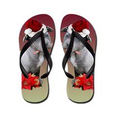 Christmas Pitbull Puppy Flip Flops  #pitbull #flip #flops #sandals #gifts #dog