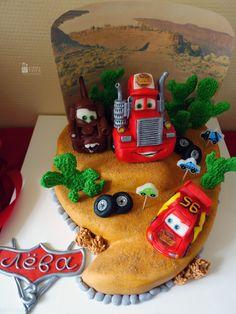 Candy bar. Paper decor. Cars style. 3d birthday for boy. Cartoon. McQueen. Cake