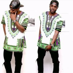 White and Green African Dashiki Shirt Only $15