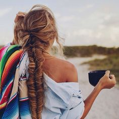 morning walks on the beach with a cup of coffee & a crazy fishtail