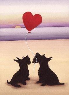 Scottish terriers scotties in love / Lynch by watercolorqueen, $12.99