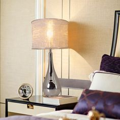 """Tulip Big 30"""" Table Lamp with Foldable & Translucent Silver Yarn Lampshade (Set of 2) - On Sale - Overstock - 30540745 - Chrome Grey Ombre Table Lamp Base, Table Lamp Sets, Lamp Bases, Gold Couch, Tulip Table, Living Room End Tables, Lamp Shade Store, Drum Shade, Glass Table"""