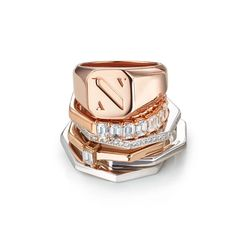 Neva / Shop - AUDACE Signet Multiple Rings, Diamond Solitaire Rings, Types Of Rings, 1 Carat, Signet Ring, Jewelry Stores, Diamond Cuts, White Gold, Wedding Rings