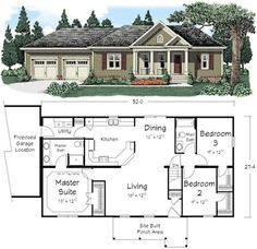 54 Ideas Home Remodel Ranch Style House Plans For 2019 House Plans One Story, New House Plans, Dream House Plans, Small House Plans, House Floor Plans, Ranch Floor Plans, Simple Ranch House Plans, Small Floor Plans, The Plan