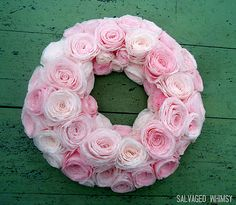 Wreaths & Garlands - Pink coffee filter wreath from http://salvagedwhimsy.blogspot.com/2012/01/shades-of-pinkor-not.html