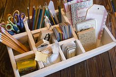 simple wooden box (would work with a shallow drawer) with dividers would make cute storage spot. Studio Organization, Desktop Organization, Organizing Life, Diy Shadow Box, Shadow Box Frames, Space Crafts, Home Crafts, Design Crafts, Diy Design