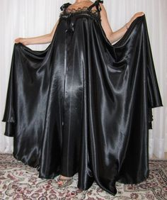 Plus size vintage lingerie, sexy slippery satin , nylon and lace vintage lingerie negligee robe and nightgowns. Black Nightgown, Satin Nightie, Black Satin Dress, Vintage Nightgown, Satin Lingerie, Satin Gown, Satin Slip, Vintage Lingerie, Satin Dresses