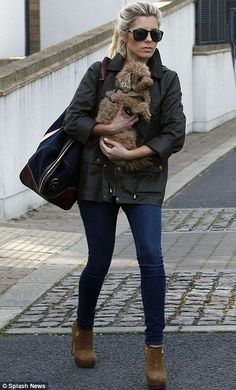 ea2500c794 All alone on the underground! Mollie King seeks comfort in the company of  her pet pooch Alfie on her solitary commute