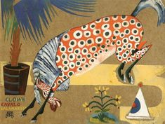 Clown, Horse, Salamandra, 1912 by Amadeo de Souza-Cardoso. Expressionism. animal painting