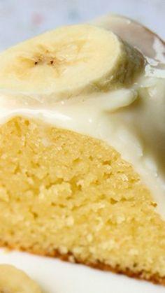 Banana Pudding Cake With Cream Cheese Glaze ~ Its banana cream pie baked into a cake!