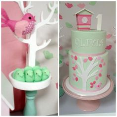 bird themed birthday party | Pink and Mint Bird Theme First Birthday Party