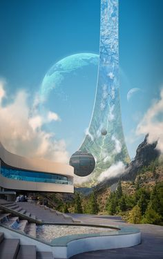 Science Fiction World Fantasy Landscape, Sci Fi Fantasy, Fantasy World, Arte Sci Fi, Sci Fi Art, Futuristic City, Futuristic Architecture, Sci Fi Kunst, Sf Wallpaper