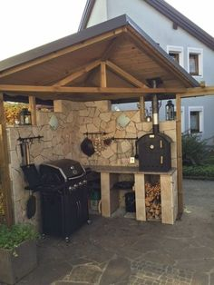 Picture gallery ovens - pictures of conversions / built in ovens - Öfen - Outdoor Kitchen Patio Pergola, Gazebo, Backyard, Pergola Kits, Pizza Oven Outdoor, Outdoor Cooking, Built In Ovens, Bbq Area, Outdoor Kitchen Design