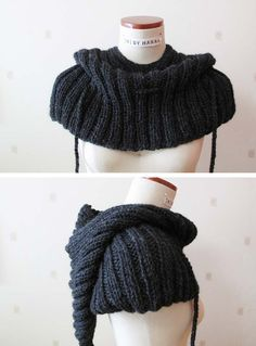 Cape with hood Dark gray color Alpaca and wool Riding by NAKNIT