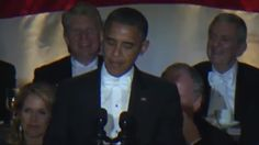 President Barack Obama has poked fun at himself, his running mate and Mitt Romney at a white-tie gala in New York.