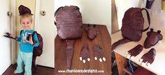 Disfraz de mulita, mochila caparazón con cola, cabeza y manitos  My Violet Myvioletdesigns.com