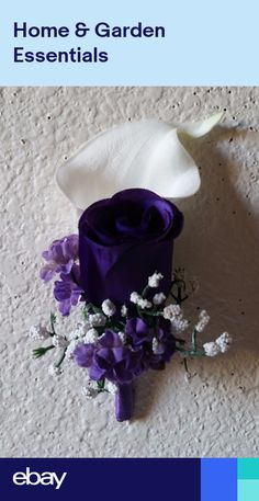 Purple Rose Real Touch Calla Lily Boutonniere Rose Petals Wedding, Rose Wedding Bouquet, White Wedding Bouquets, Blush Roses, Purple Roses, Calla Lily Boutonniere, Bridesmaid Bouquet White, Lillian Rose, Rose Lily