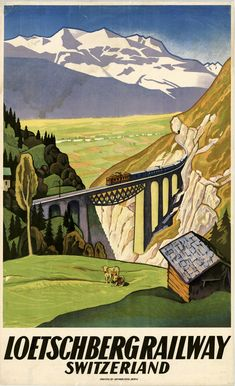Loetschberg Railway, Switzerland, ca. 1931. Artist: Eugen Henziross. Fine stone-lithographic poster for the Basel-Lötschberg-Simplon Railway Company showing the Rhone Valley in Wallis and the Alps. The BLS links Basel and Bern with the canton of Wallis in Switzerland (Los Angeles Public Library)