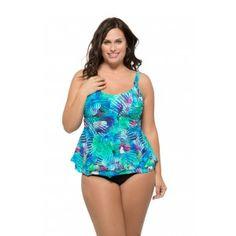 de222a6ffe0f1 Christina Plus Size Tropical Journey D-Cup Flare Tankini Top Plus Size  Underwire Swimwear,