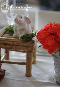 Decoração de Páscoa por Patricia Junqueira {Home, Receber & Baby} para Receber Bem! www.patriciajunqueira.com.br  #Decor #Eventos #Festa #Coelhinho #Páscoa #home #Arranjo Floral
