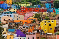 Guanajuato, the most colorful city in all of Mexico, was shot up around silver mines. For decades, these silver mines produced 30 percent of the world's silver. The colorful city of Guanajuato is now celebrated as a UNESCO World Heritage Site. Mexico House, Mexico City, Bolivia, Beautiful World, Beautiful Places, Mexican Colors, Colourful Buildings, Colorful Houses, World Cities