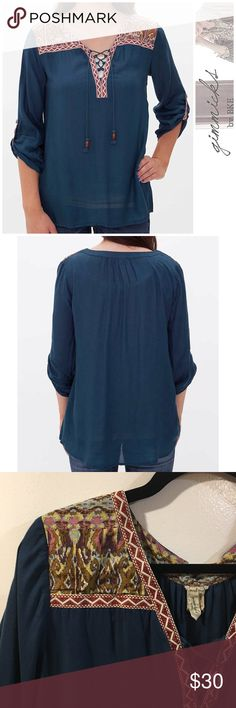 Gimmicks by BKE • Lace-Up Top in Cobalt • Gimmicks by BKE Lace-Up Top in Cobalt • Size Large • High Low Hem • Faux Convertible Button Tab Sleeves • Body: 100% Rayon • Fabric: 100% Cotton • Super Cute & Lightweight Summer Look •  Feel Free to Ask Questions ❤️❤️ BKE Tops