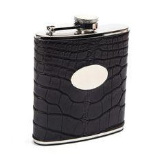 Bryant Park Genuine Alligator Engrave-Able Plaque Flask in Black 6 oz.