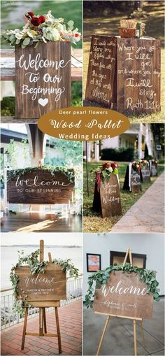 rustic wooden pallet wedding signs / http://www.deerpearlflowers.com/rustic-woodsy-wedding-decor-ideas/ #rusticwedding #countrywedding #weddingdecor