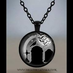 Spooky Graveyard Glass Cameo Gothic Necklace