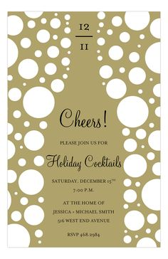 Cheers Champagne Invitation from polkadotdesign.com