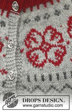 """Winter Rose / DROPS 150-1 - Veste DROPS avec empiècement arrondi et jacquard nordique, en """"Karisma"""". Du S au XXXL."""