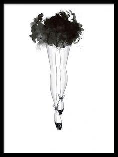 Poster med illustration av ballerinaskor och svart kjol.