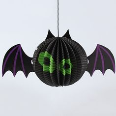 Halloween Supply Party Cartoon Bat Paper Lantern Decoration - BLACK