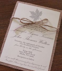 Twine and burlap autumn wedding invites | 50 Fall Wedding Invitations via @blissfulmiller