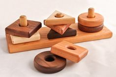 Wooden Toy Shape Sorter in Cherry by asummerafternoon:  smooth wood pieces in an array of shades, what's not to love about this playtime staple?