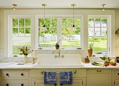 cape cod kitchen  love the windows and divided sink