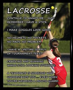 "Lacrosse Girl on Field 8x10 Poster Print. ""No helmets. No pockets. No pads. No problem,"" is just one funny lacrosse quote on this poster! Brighten up your walls with this lacrosse girl gift."