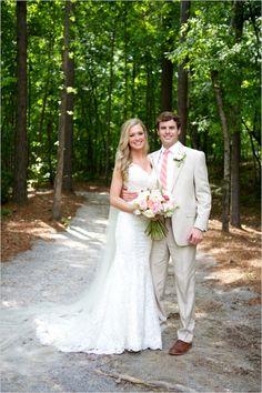 formal wedding couple with groom in cream #groom #brideandgroom #weddingchicks http://www.weddingchicks.com/2014/02/27/sophisticated-stable-wedding/