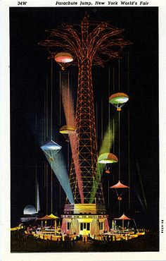 linen postcard, Parachute Jump at the 1939 New York World's Fair New York Pictures, New York Photos, Vintage Travel Posters, Vintage Postcards, Amelie, Retro Graphic Design, World Of Tomorrow, Fair Games, World's Fair