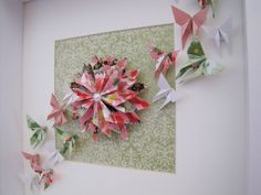 Origami Dahlia and Butterflies in a frame. Order via www.facebook.com/ChienoWa.Origami