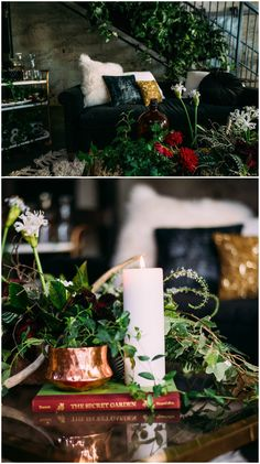 Chic wedding reception seating area, furniture ideas, black couch, eclectic black and gold pillows, white furry pillow, coffee table covered in greenery and white candles // Fog & Dawn Photography