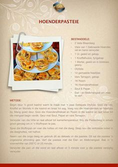 Dutch Recipes, Pastry Recipes, Tart Recipes, Appetizer Recipes, Cooking Recipes, Appetizers, Best Chicken Recipes, Chicken Salad Recipes, Lunch Snacks