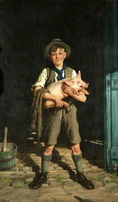 Frederick Elwell (1870 – 1958, English)  A Boy With A Pig