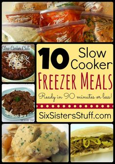 10 Slow Cooker Freezer Meals- all the recipes, shopping lists, and side dish suggestions in one place! Can be assembled in only 90 minutes. SixSistersStuff.com