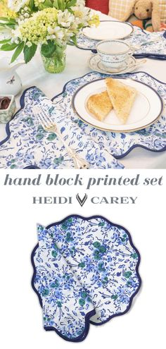 Heidi Carey has redesigned everyday napkins and placemats setting with her new and unique scalloped hand block printed designs. Hand Printed Fabric, Printing On Fabric, Printed Cotton, Cotton Napkins, Napkins Set, Table Setting Inspiration, Great Mothers Day Gifts, Table Accessories, Placemat Sets