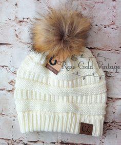 1c00c5f66bc Fur Pom Pom CC Beanie Hats – Rose Gold Vintage Cute Hats
