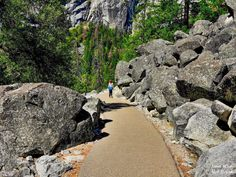 The Mist Trail is Yosemite's signature hike with fabulous views scattered all along the length of the hike. Mist Trail Yosemite, Yosemite California, Mists, National Parks, Sidewalk, Hiking, Eat, Travel, Walkway