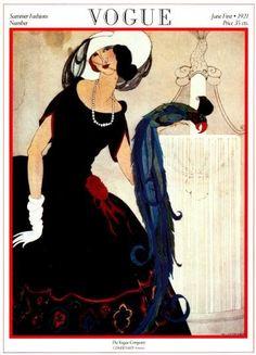 Vintage Vogue Magazine Cover Poster Print- June 1, 1921 - Helen Dryden Illustration