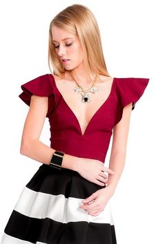 Ruby Flutter Sleeve Plunging Crop Top - Slimskii Couture